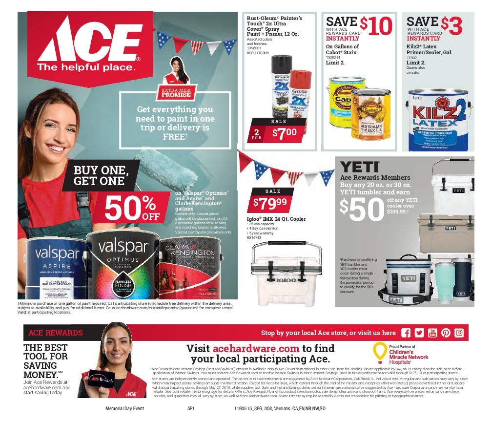 May 2019 Memorial Day Sale Circular Nr 8 Petro Ace Hardware